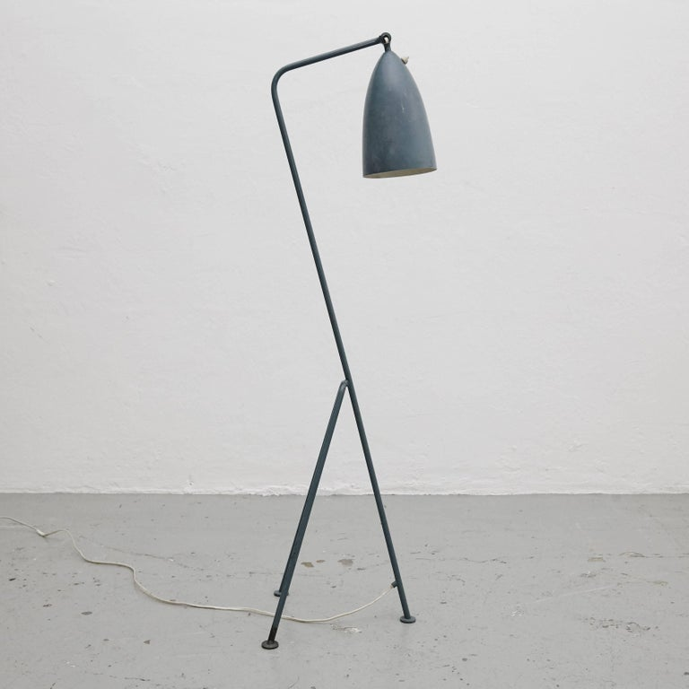 Floor lamp designed by Greta Magnusson Grossman in Sweden, circa 1947.  In original condition, with minor wear consistent with age and use, preserving a beautiful patina.  Greta Magnusson-Grossman (July 21, 1906 – August 1999) was a Swedish