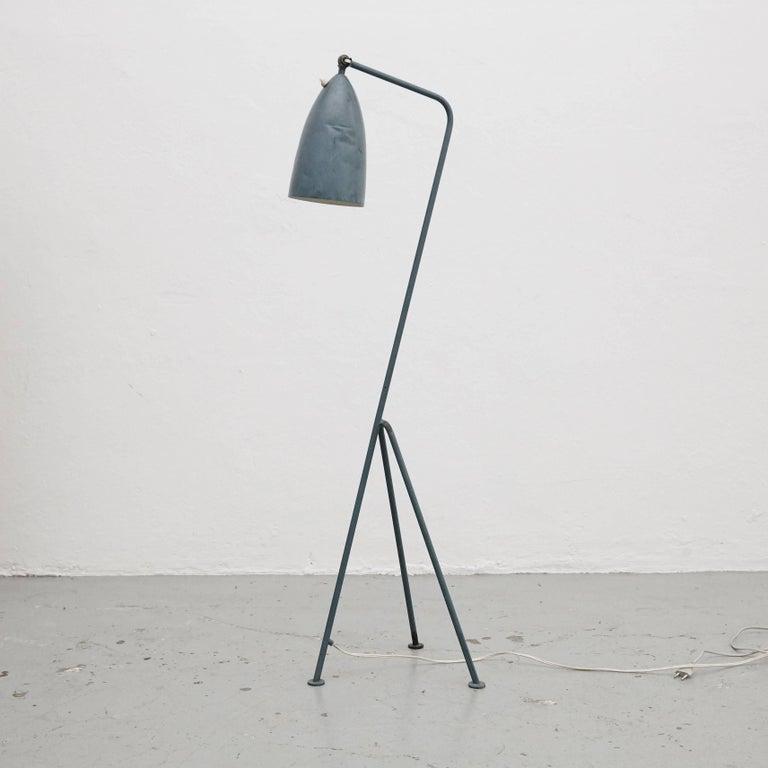 Swedish Greta Magnusson Mid-Century Modern Blue Metal