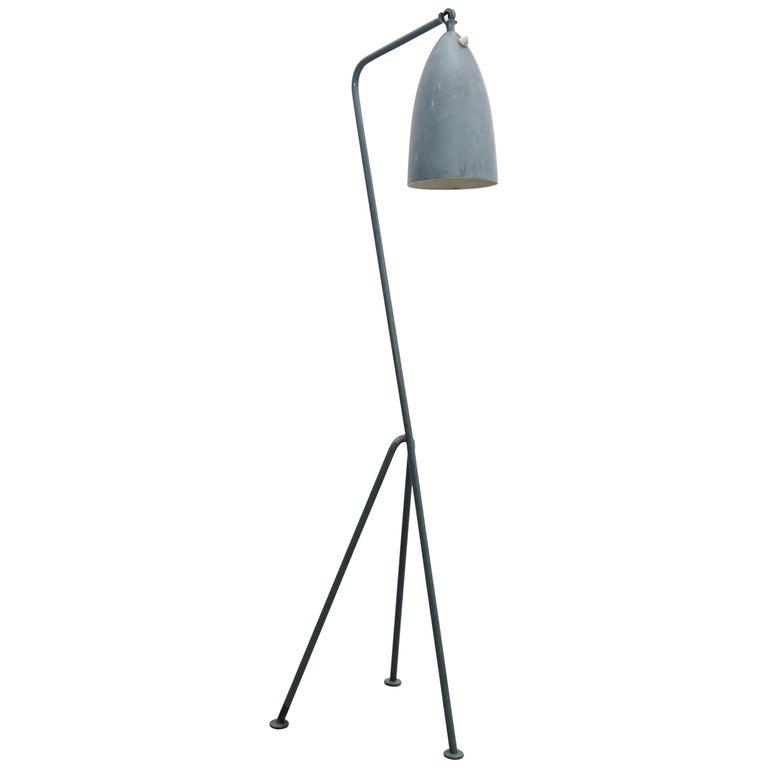 "Greta Magnusson Mid-Century Modern Blue Metal ""Grasshopper"" Floor Lamp For Sale"