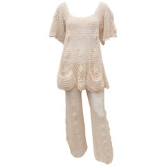 Greta Plattry Crochet Cotton Knit Pant Suit, 1960's