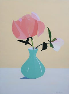 Coral Peony in Turquoise Vase