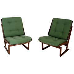 Grete Jalk Attributed Pair of Midcentury Armchairs Green in Mahogany, from 1950