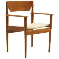 Grete Jalk Chair with Arms, Teak with New Leather Upholstery, Beautiful Form