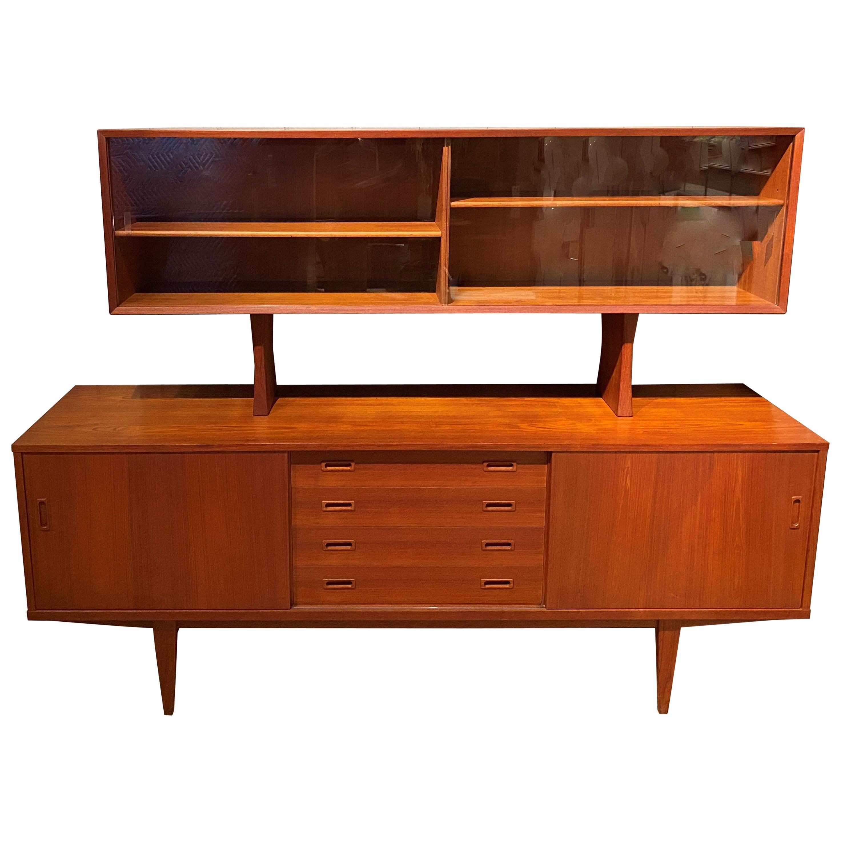 Grete Jalk Danish Midcentury Teak Credenza with Upper Display Cabinet
