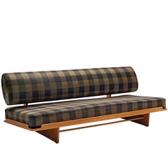 Grete Jalk Daybed in Oak and Checked Olive Green Black Fabric
