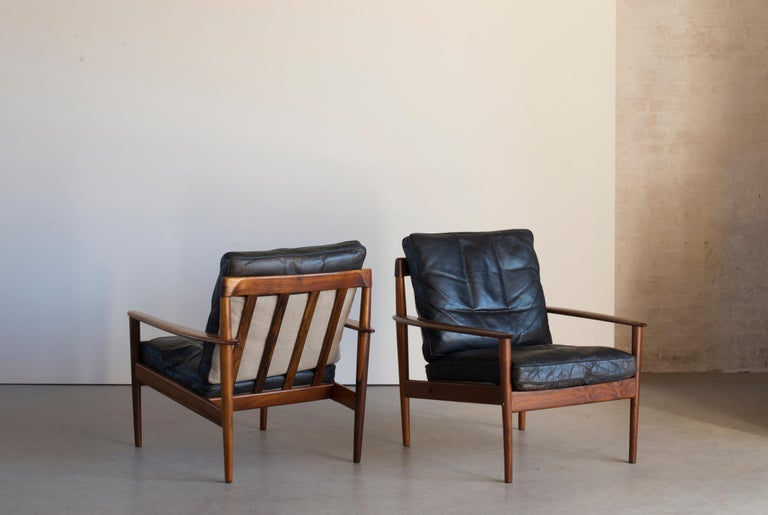 Scandinavian Modern Grete Jalk Easy Chairs of Rosewood For Sale
