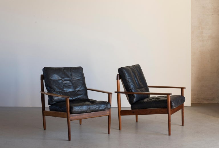 Danish Grete Jalk Easy Chairs of Rosewood For Sale