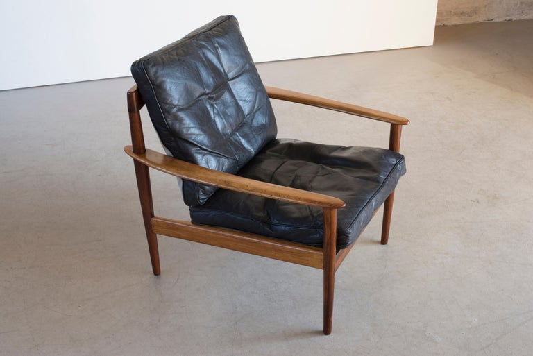 Leather Grete Jalk Easy Chairs of Rosewood For Sale