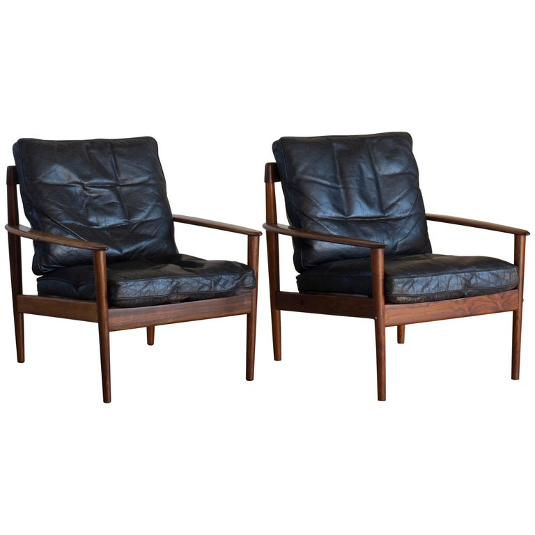 Grete Jalk Easy Chairs of Rosewood For Sale