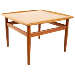 Grete Jalk for France & Son MCM Danish Teak Side Coffee Table Brass Accents