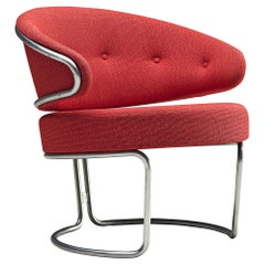 Grete Jalk for Fritz Hansen Easy Chair in Tubular Steel and Red Fabric
