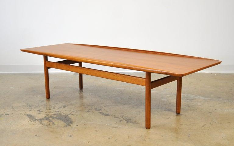 Mid-Century Modern Grete Jalk for Poul Jeppesen Teak Surfboard Coffee Table