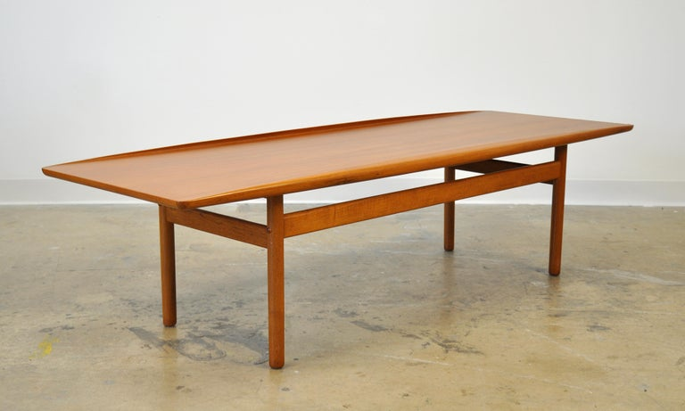 Grete Jalk for Poul Jeppesen Teak Surfboard Coffee Table In Good Condition In Miami, FL