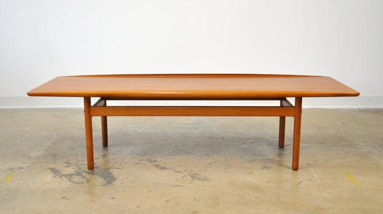 1960s Grete Jalk for Poul Jeppesen Teak Surfboard Coffee Table