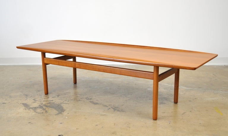 Grete Jalk for Poul Jeppesen Teak Surfboard Coffee Table 1