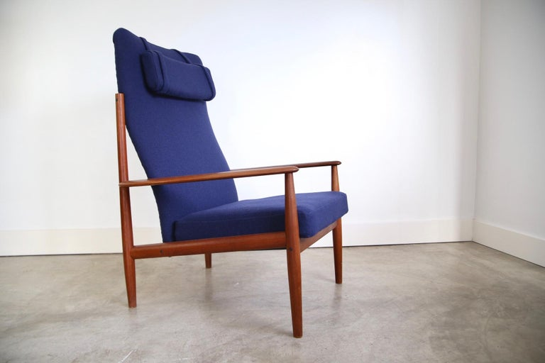 Mid-Century Modern Grete Jalk High Back Lounge Chair Recently Reupholstered For Sale