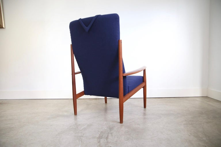 Grete Jalk High Back Lounge Chair Recently Reupholstered In Good Condition For Sale In St. Louis, MO