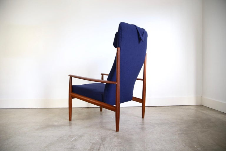 Mid-20th Century Grete Jalk High Back Lounge Chair Recently Reupholstered For Sale