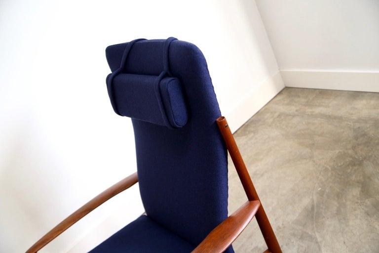 Teak Grete Jalk High Back Lounge Chair Recently Reupholstered For Sale