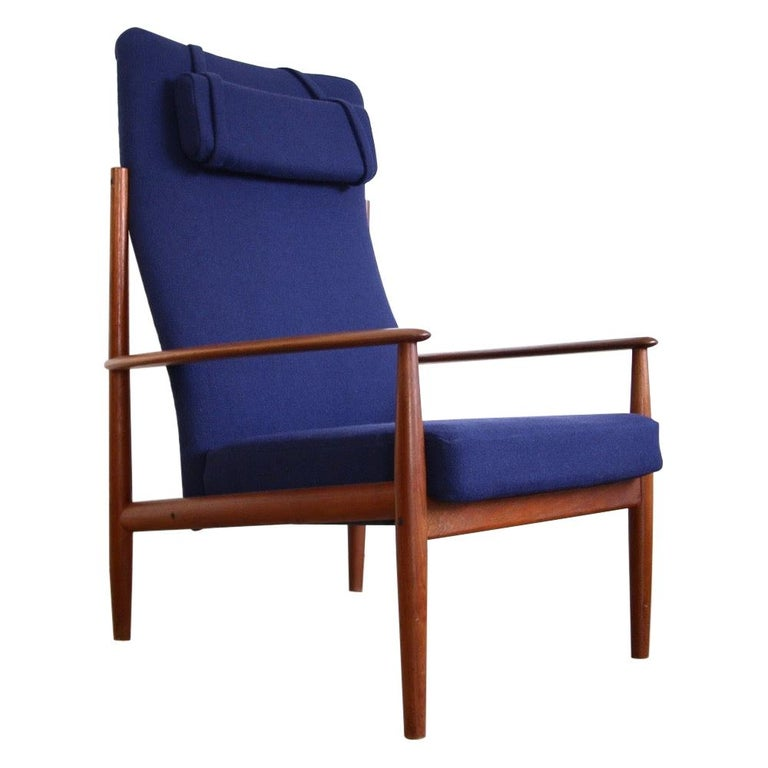 Grete Jalk High Back Lounge Chair Recently Reupholstered For Sale