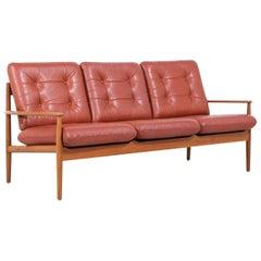Grete Jalk Model-218 Cognac Leather & Teak 3-Seat Sofa for France & Søn