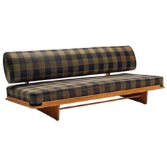 Grete Jalk Sofa in Oak and Checked Fabric