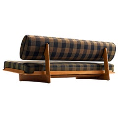 Grete Jalk Sofa in Oak and Checked Fabric with Hidden Storage