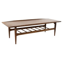 Grete Jalk Style Bassett Mid Century Walnut Surfboard Coffee Table