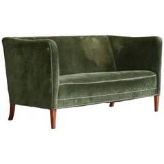 Grete Jalk Style Danish Midcentury Two-Seat Sofa in Green Corduroy