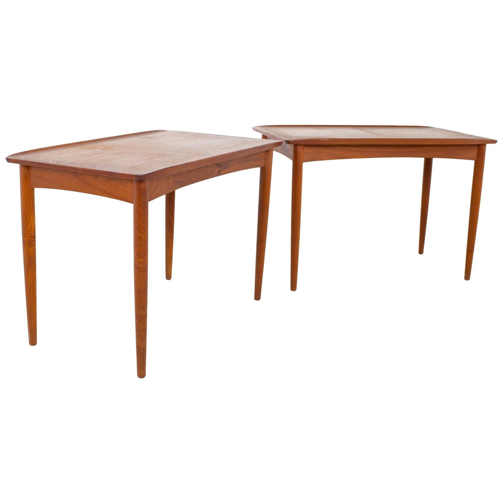 Grete Jalk Style Mid Century Danish Teak Side End Tables, a Pair
