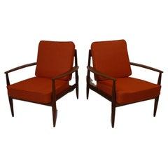 Grete Jalk Teak Lounge Chairs for France & Sons / John Stuart