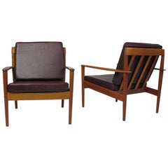 Grete Jalk Teak Lounge Chairs in Brown Leather