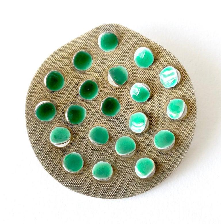 Modernist Grete Prytz Kittelsen for Tostrup Plated Sterling Enamel Norwegian Modern Brooch For Sale