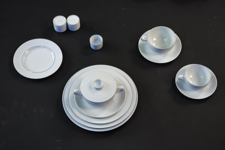 Grethe Meyer Blue Line Faiance Aluminia Service for Eight For Sale 13