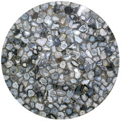Grey Agate Mosaic Stone Round Table Top