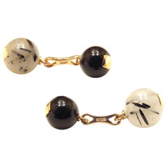 Grey Agate Onyx Gold Cufflinks Handcrafted in Italy by Botta Gioielli