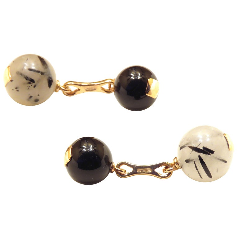 Grey Agate Onyx Gold Cufflinks Handcrafted in Italy by Botta Gioielli For Sale