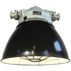 Grey Aluminium Explosion Proof Lamp with Black Enamelled Shade and Cage