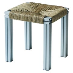 Grey Aluminium Stool with Reel Rush Seating from Anodized Wicker Collection