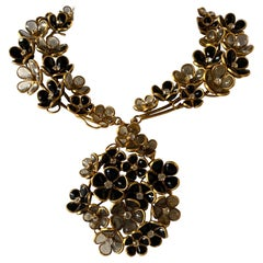 "Grey and Black Diamante Flower ""pate de verre"" Statement Necklace"