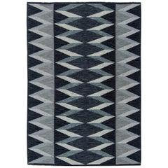 Grey and Black Mid-Century Modern Wool Rug by Nordiska Kompaniet