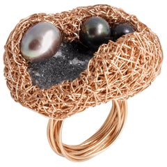 Grey and Black Pearl Quartz Rose Gold Cocktail Ring by Sheila Westera in Stock