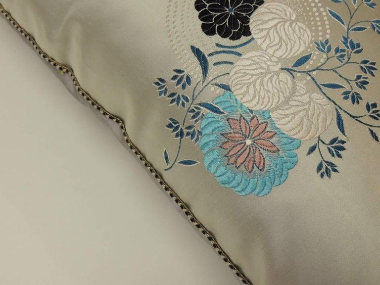 Japonisme Grey and Blue Japanese Silk Floral Obi Decorative Bolster Pillow