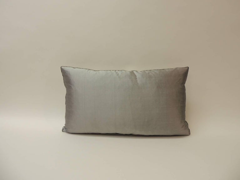 Hand-Crafted Grey and Blue Japanese Silk Floral Obi Decorative Bolster Pillow
