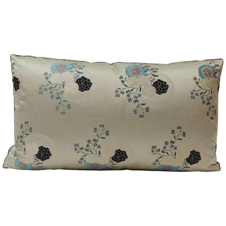 Grey and Blue Japanese Silk Floral Obi Decorative Bolster Pillow