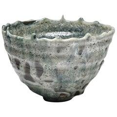 Grey and Blue Large Stoneware Ceramic Bowl or Basket by Lukas Richarz Handmade