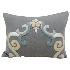 Grey and Blue Woven and Embroidered Alpaca Decorative Bolster