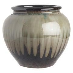 Grey and Dark Brown Drip Glaze Ceramic Pot, China, Contemporary
