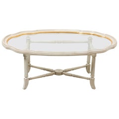 Grey and Gold Glass Top Coffee Table