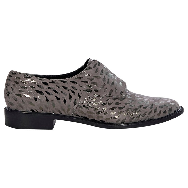 Robert Clergerie Grey And Metallic Suede Oxford Shoes For Sale